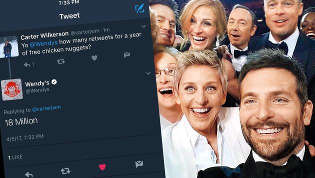 Weltrekord: Nugget-Tweet schlägt Oscar-Selfie (Bild: twitter.com/carterjwm, twitter.com/TheEllenShow)