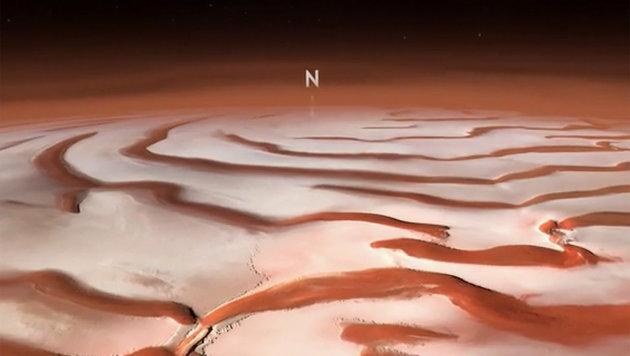 Video simuliert Überflug von Mars-Nordpol (Bild: ESA/DLR/Freie Universität Berlin)