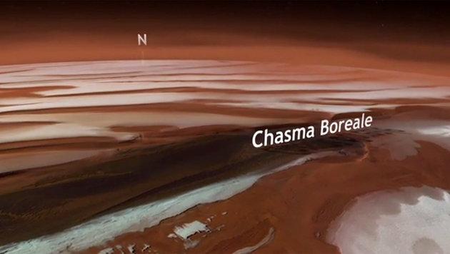 Das Chasma Boreale am Nordpol des Mars (Bild: ESA/DLR/Freie Universität Berlin)