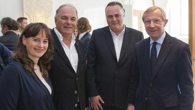 Stehen wie Gensbichler hinter Saalbachs WM-Bewerbung: Sportminister Doskozil & LH Haslauer. (Bild: Neumayr/Leo)