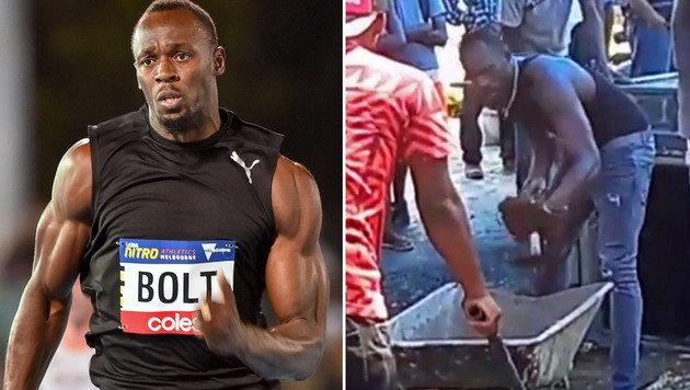 Bolt schaufelt Grab für verunglückten Freund (Bild: AFP, YouTube.com)