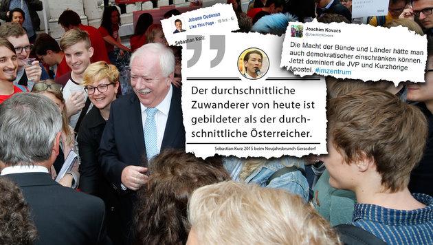 FPÖ und Grüne gegen Kurz - Häupl am Spritzerstand (Bild: Reinhard Holl, twitter.com, facebook.com)