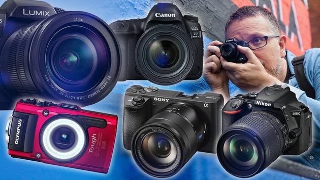So kommen Sie zu Ihrer perfekten Kamera (Bild: LUMIX, CANON, OLYMPUS, SONY, NIKON)