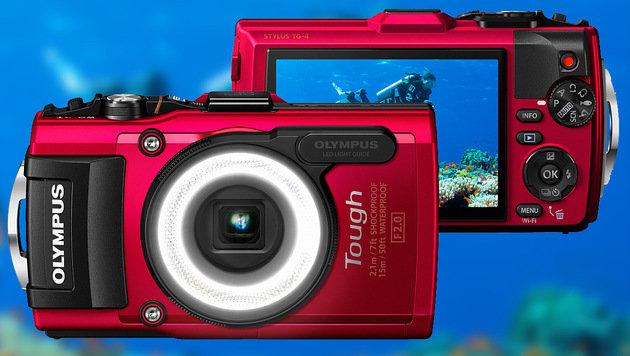 Olympus' Outdoor-Kompaktkamera TG-4 ist wasserdicht, frost- und bruchsicher sowie stoßfest. (Bild: Olympus)