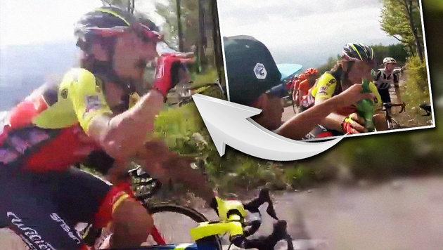 Bier bei Giro-Anstieg: Radstar sorgt für Lacher! (Bild: YouTube.com)