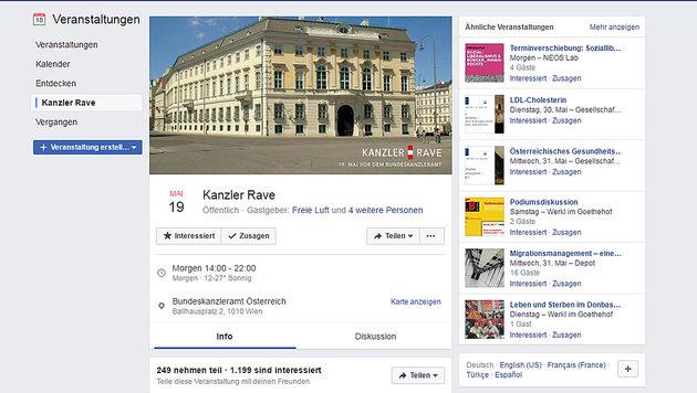 """Zum Jubiläum: """"Kanzler Rave"""" am Ballhausplatz (Bild: Screenshot facebook.com)"""