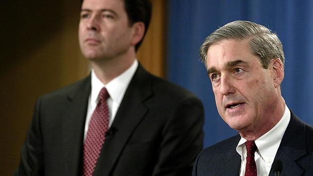 Der ehemalige FBI-Chef Robert Mueller (re.) und US-Vizejustizminister Rod Rosenstein (Bild: AFP)