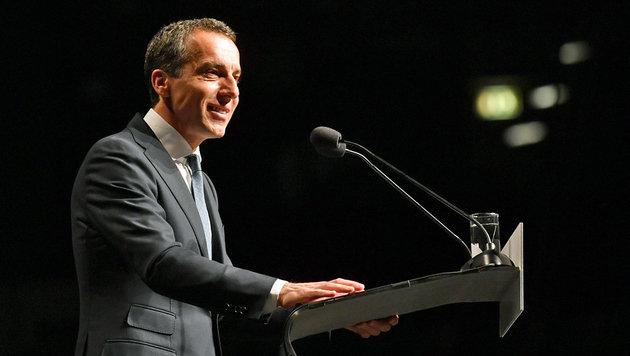 Rückblick auf eigene Erfolge und Wahlkampftöne von Kanzler Kern in Salzburg (Bild: APA/BARBARA GINDL)