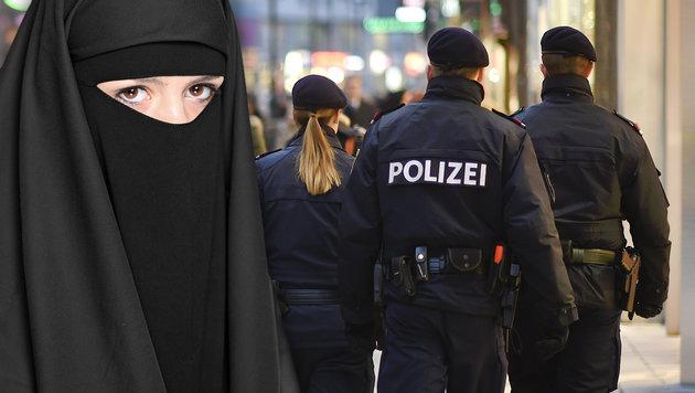 Streifenpolizisten werden Burkaverbot durchsetzen (Bild: APA/HELMUT FOHRINGER, thinkstockphotos.de)