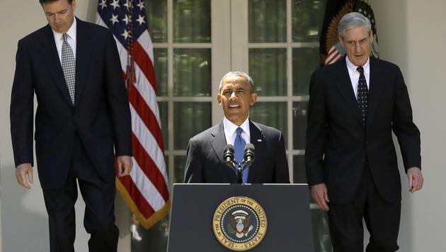 James Comey, Barack Obama und Robert Mueller (v.l.n.r.) (Bild: AP)