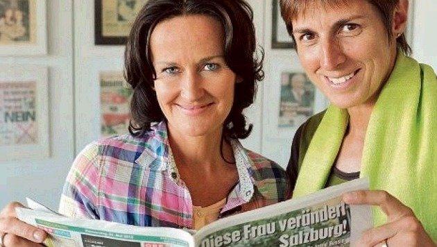 """Eva Glawischnig (l.) und Astrid Rössler beim Besuch in der Redaktion der """"Salzburg Kroneâ01C. (Bild: Wolfgang Weber)"""
