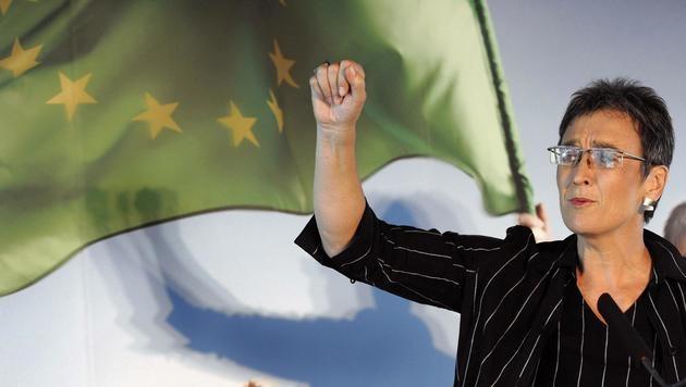 Ulrike Lunacek im Wahlkampf der Europawahl 2009 (Bild: APA/Barbara Gindl)