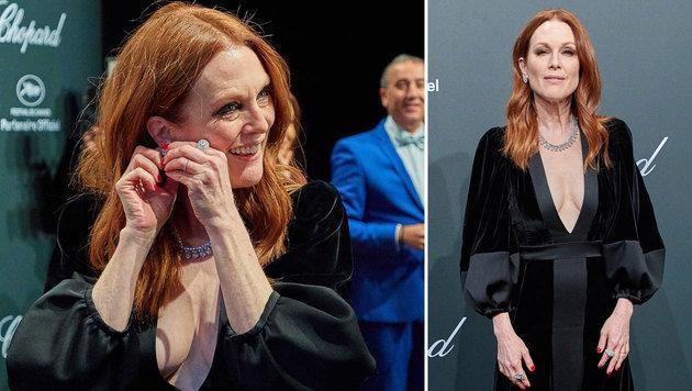 Die Sache mit dem Ohrring: Moore ging fast ein Stück verloren, sie überspielte es mit einem Lächeln. (Bild: Starpix/Alexander Tuma)