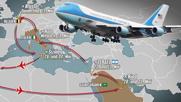 Trump auf Auslandstour: Die Route des US-Präsidenten (Bild: AFP, thinkstockphotos.de, krone.at-Grafik)