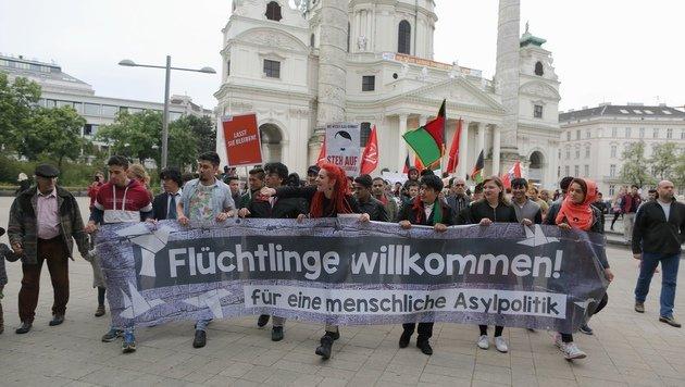 Flüchtlings-Demo legte Wiener Ring neuerlich lahm (Bild: Gerhard Bartel)