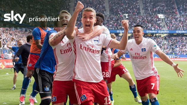 HSV rettet sich mit 2:1 vs. Wolfsburg - das Video (Bild: AP)