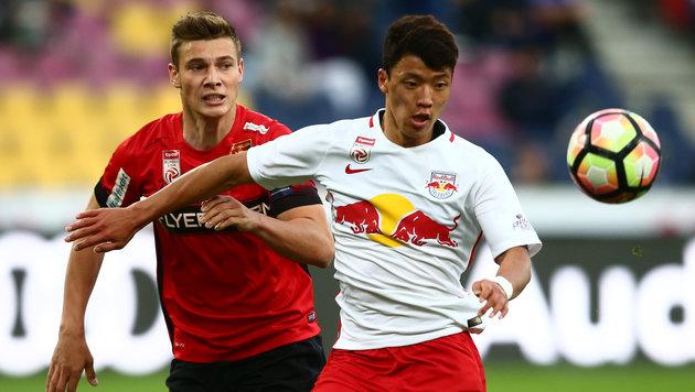 Hwang-Doppelpack lässt Red Bull Salzburg jubeln! (Bild: GEPA)