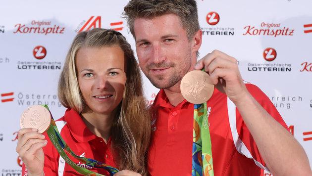 Tanja Frank und Thomas Zajac mit ihrer Bronzemedaille von Rio (Bild: GEPA)