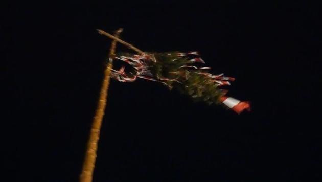 Auch Maibäume wurden aufgrund der starken Böen umgeknickt. (Bild: Einsatzdoku.at)