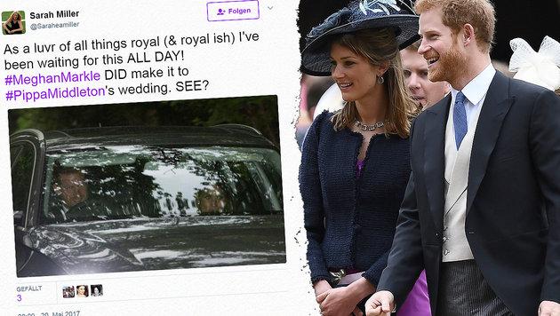 Meghan Markle war mit Harry bei Pippas Hochzeit! (Bild: AP, twitter.com, thinkstockphotos.de)