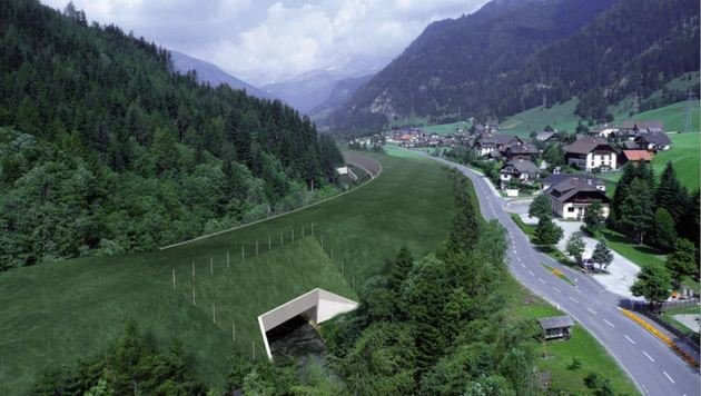 Visualisierung der ASFINAG. So wird es in Kürze in Zederhaus aussehen. Autobahn unter grünen Wiese. (Bild: ASFINAG)