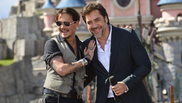"""Johnny Depp und Javier Bardem bei der """"Fluch der Karibik""""-Premiere im Disneyland Paris (Bild: Viennareport)"""