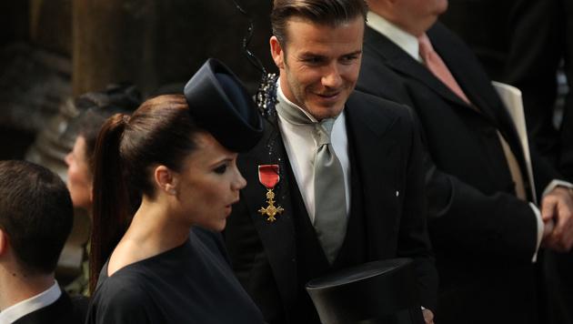 Victoria und David Beckham kamen ebenfalls zur Hochzeit von Kate und William. (Bild: AFP)