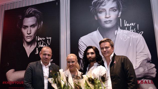 """Kate Winslet und Uma Thurman werben für neue Life-Ball-Kampagne """"Know your Status"""" (Bild: APA/HANS PUNZ)"""