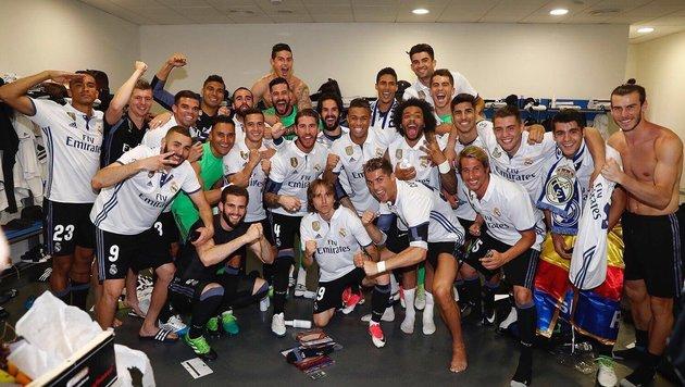Die Freude nach dem 2:0-Sieg in Malaga war groß: Real Madrid holt sich den 33. Meistertitel! (Bild: facebook.com)