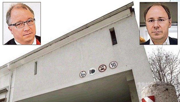 Tatort: Ernest-Thun-Straße. Staatsanwaltschaft-Sprecher R. Holzleitner (l.), Anwalt St. Rieder (r.). (Bild: Markus Tschepp/Neumayr)