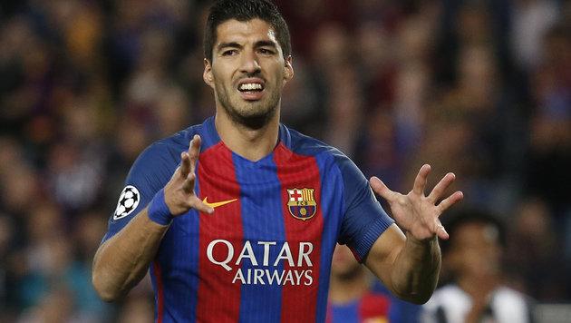 Autsch! Luis Suarez muss 15 Tage pausieren (Bild: AFP)