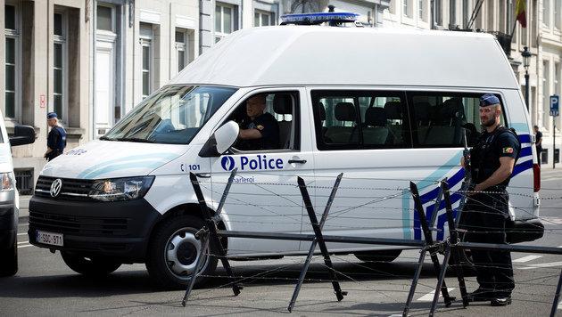 Abgeriegelte Straße in Brüssel (Bild: AFP)