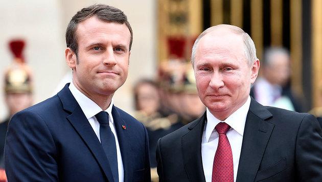 Macron warnt Putin vor Chemiewaffen in Syrien (Bild: AFP/Stephane de Sakutin)