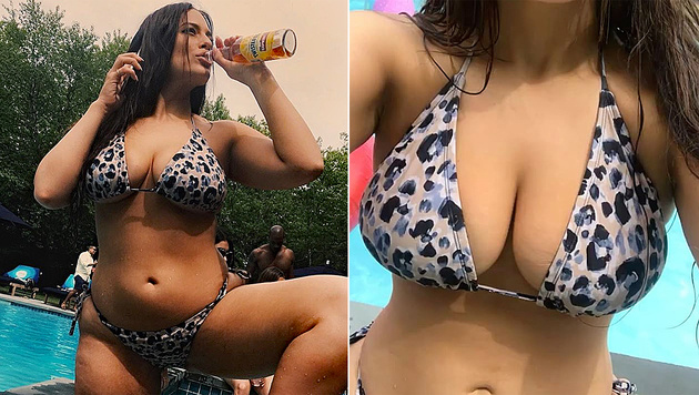 Ashley graham heizt mit praller pool show ein im for Pool en keeshonden show