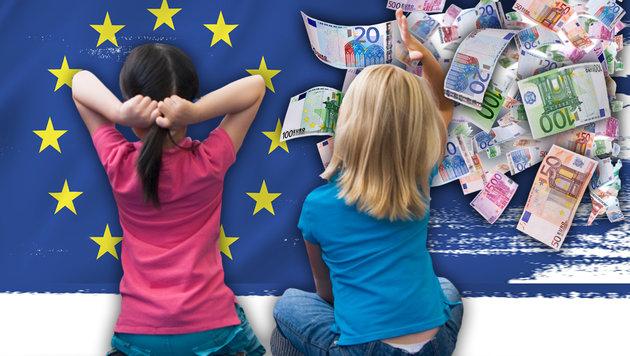 Millionenbetrug mit Kindergeld für EU-Ausländer (Bild: thinkstockphotos.de, krone.at-Grafik)