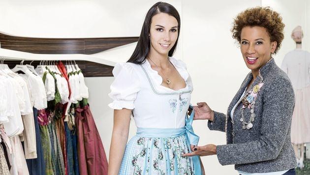 Arabella Kiesbauer mit Stadtmadl Vanessa (Bild: ATV)