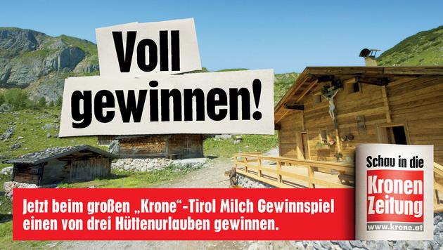 Mit Tirol Milch 1 von 3 Hüttenurlauben gewinnen! (Bild: Tirol Milch, Kronen Zeitung)