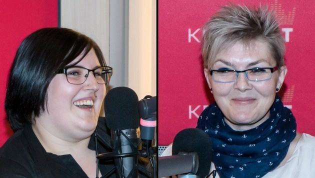 """Kerstin und Alexandra (v. li.) beim Interview im """"Kronehit""""-Studio (Bild: """"Kronehit"""")"""