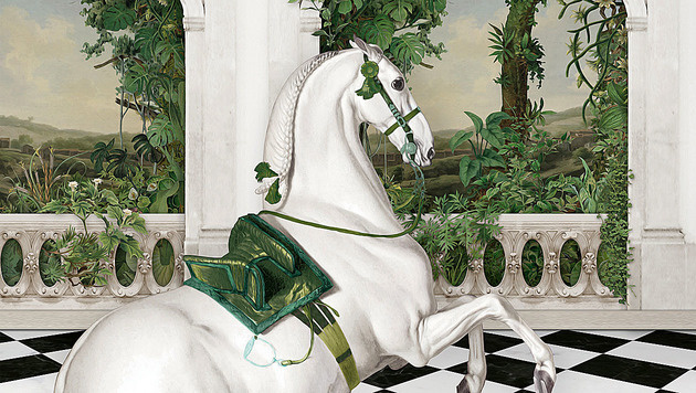 Die Hofreitschule strahlt bei der Fete Imperiale heuer in Grün und Weiß. (Bild: Fete Imperiale)