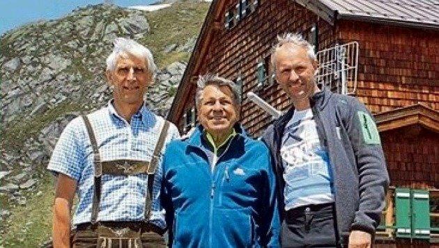 Hüttenwirt Ernst Meschik, Sepp Mair, Bgm. Erich Czerny (Bild: Privat)