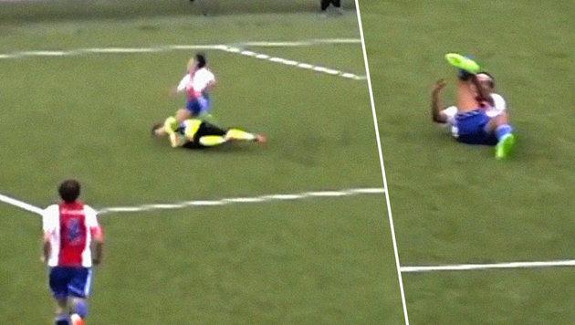Horror-Verletzung: Keeper bricht Gegner das Bein! (Bild: YouTube.com)
