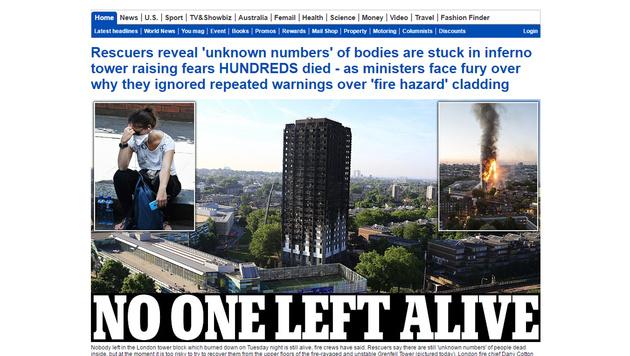 Hochhaus-Inferno: Hunderte Tote befürchtet (Bild: dailymail.co.uk)