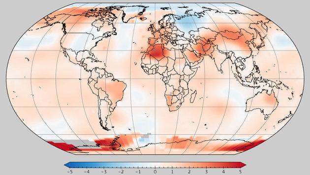Heuriger Mai war der zweitwärmste aller Zeiten (Bild: NASA/GISS/GISTEMP)