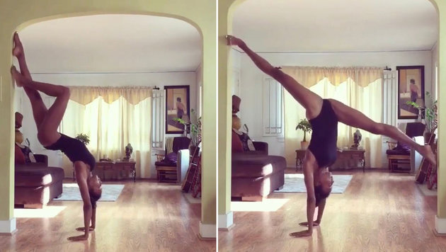 Naomi Campbell zeigt ihre beeindruckenden Yoga-Moves. (Bild: instagram/naomicampbell)