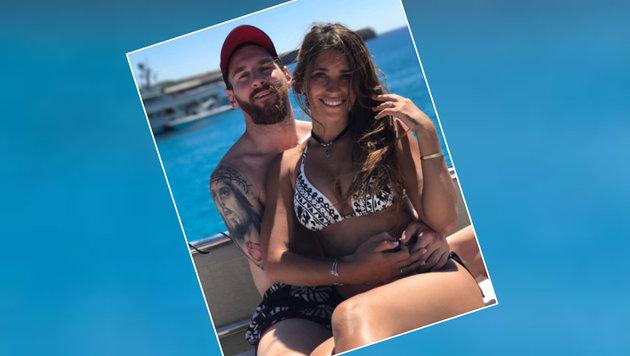 Zauberdribbler Leo Messi herzt seine Antonella. Wo, verrät er auf Instagram nicht. (Bild: Instagram)