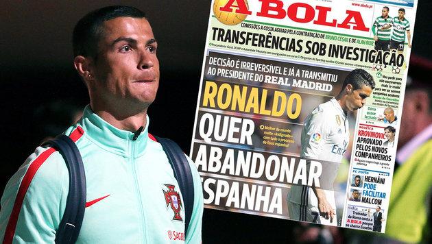 Transfer-Wirbel um Cristiano Ronaldo (Bild: AFP, twitter.com)