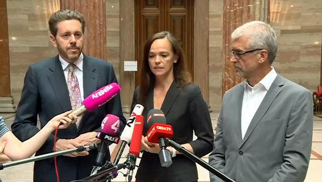 Mahrer, Hammerschmid und Walser präsentieren die Details der Bildungsreform. (Bild: tvthek.orf.at)