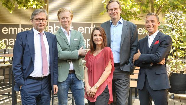 """Organisatoren: Alexander Wrabetz, Nikolaus Pelinka, Ines Schurin, Andreas Bierwirth, Johannes Müller (Bild: Darwin""""s Circle/Krpelan)"""
