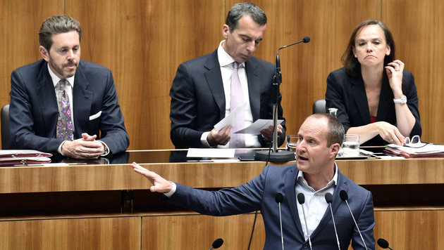 """NEOS-Chef Matthias Strolz (vorne) fordert weiterhin eine """"echte und mutige"""" Bildungsreform. (Bild: APA/HANS PUNZ)"""
