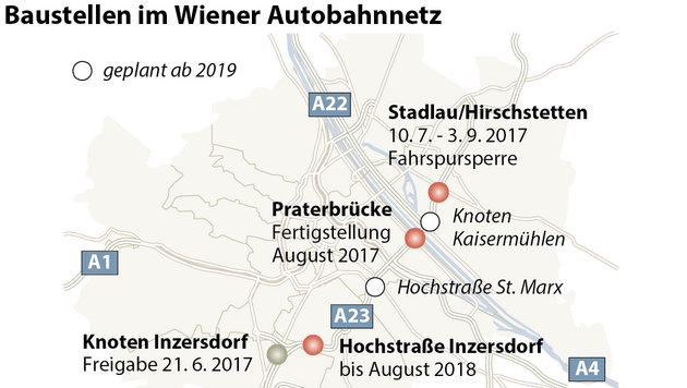 Baustellen auf A23 als Nervenprobe für Wiener (Bild: APA)